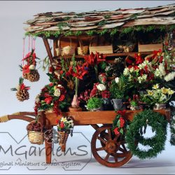 Hand-kerstbloemenkar Dickens-style